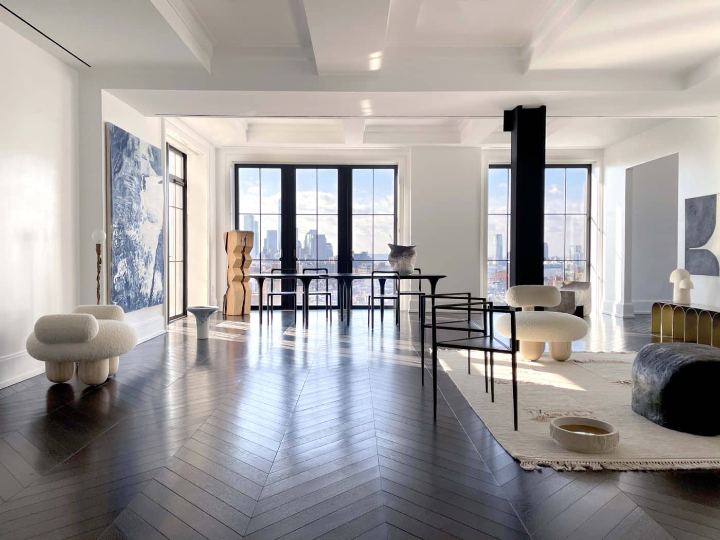 Galerie Philia's show of contemporary furniture in a duplex apartment in New York's Walker Tower