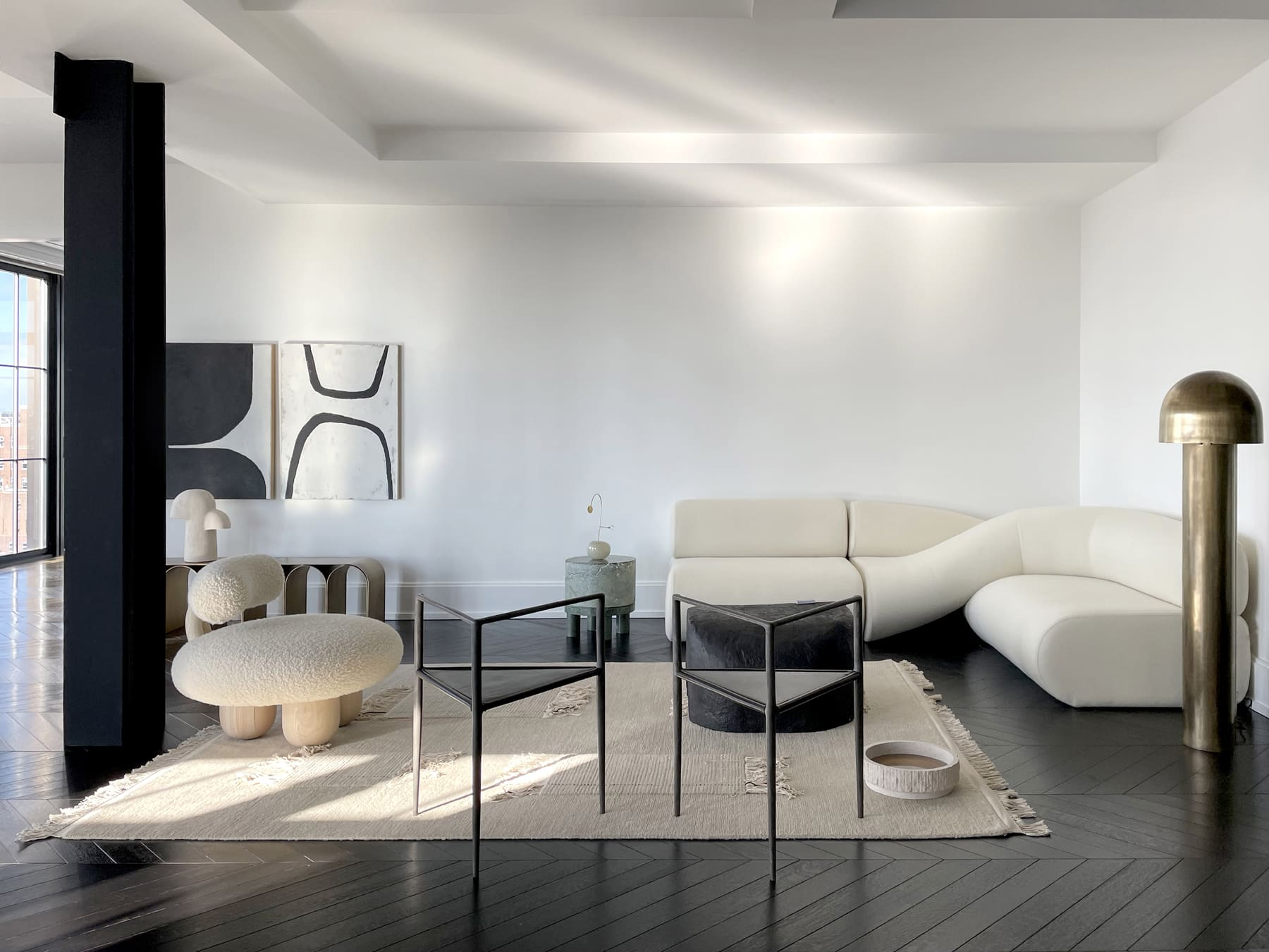 The living room area of Galerie Philia's staged apartment in New York's Walker Tower