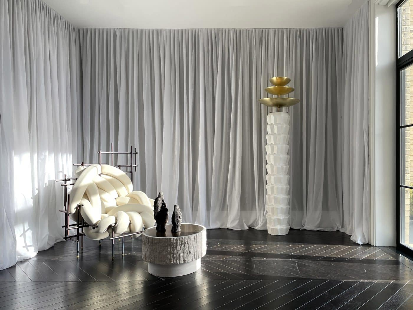 The gallery in Galerie Philia's staged apartment in New York's Walker Tower