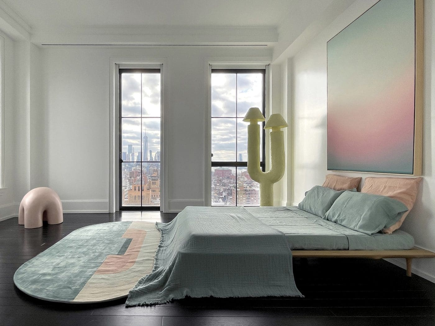 One of the bedrooms in Galerie Philia's staged apartment in New York's Walker Tower