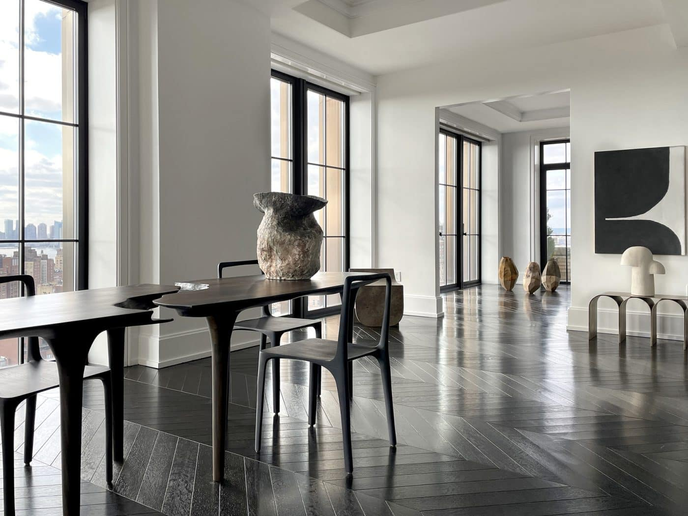 The dining area at Galerie Philia's staged apartment in New York's Walker Tower