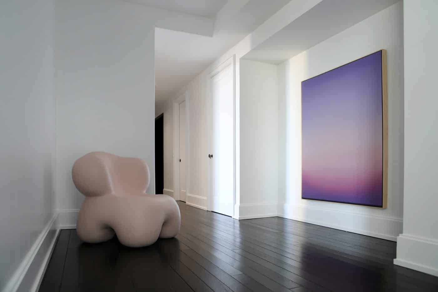 The hallway in Galerie Philia's staged apartment in New York's Walker Tower