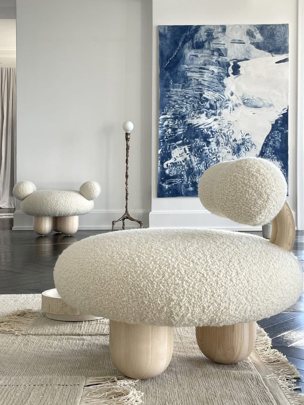 Franceschini's Bling Bling chair and ottoman in the living area of Galerie Philia's staged apartment in New York's Walker Tower