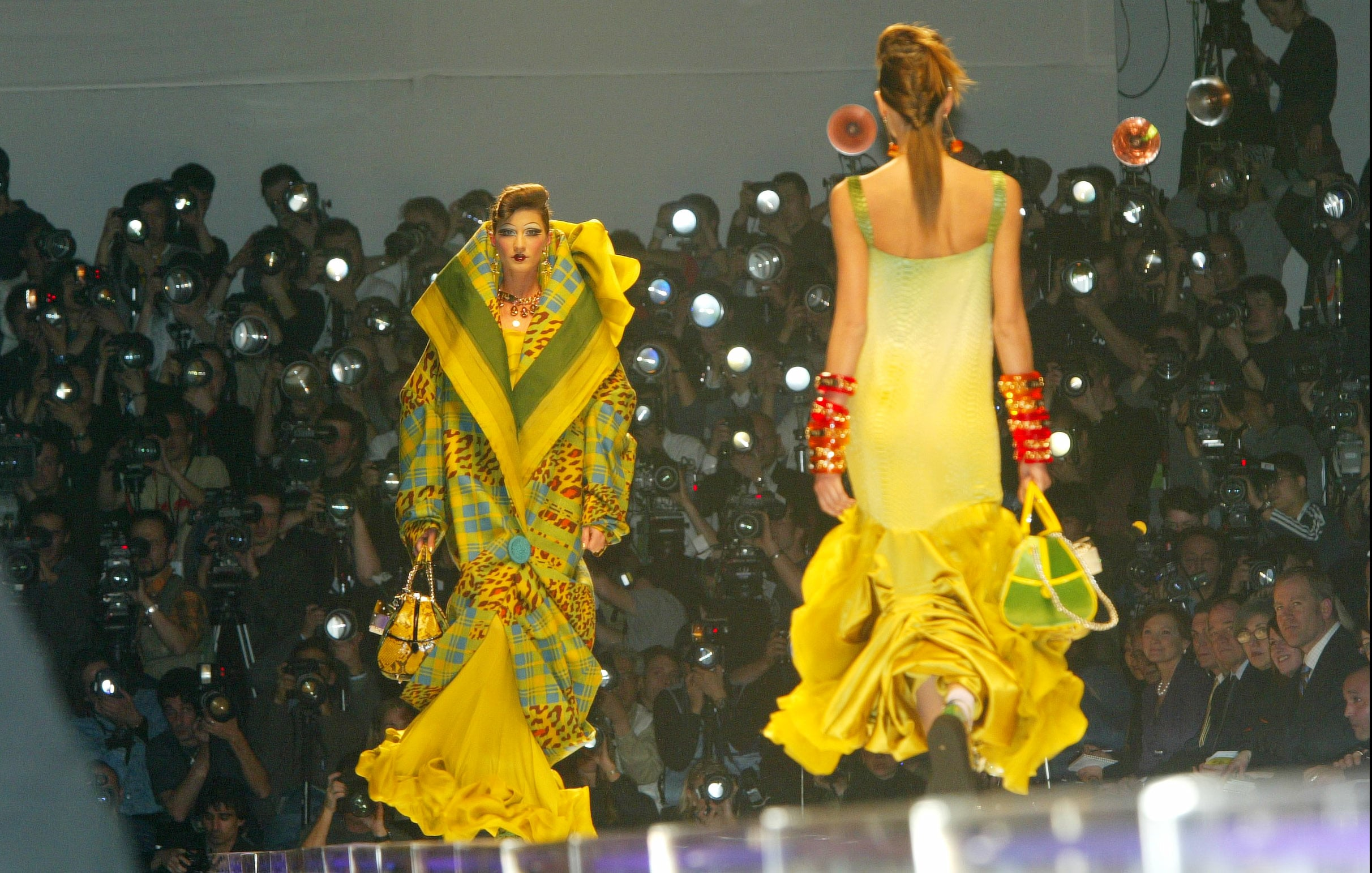 Models on the catwalk in the Dior Fall/Winter 2004 runway show