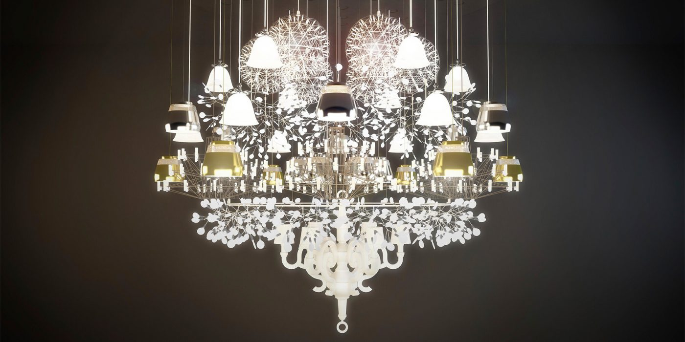 """Moooi Works' more-is-more 2018 Mega chandelier, from """"Electrifying Design: A Century of Lighting,"""" at the Museum of Fine Arts, Houston"""