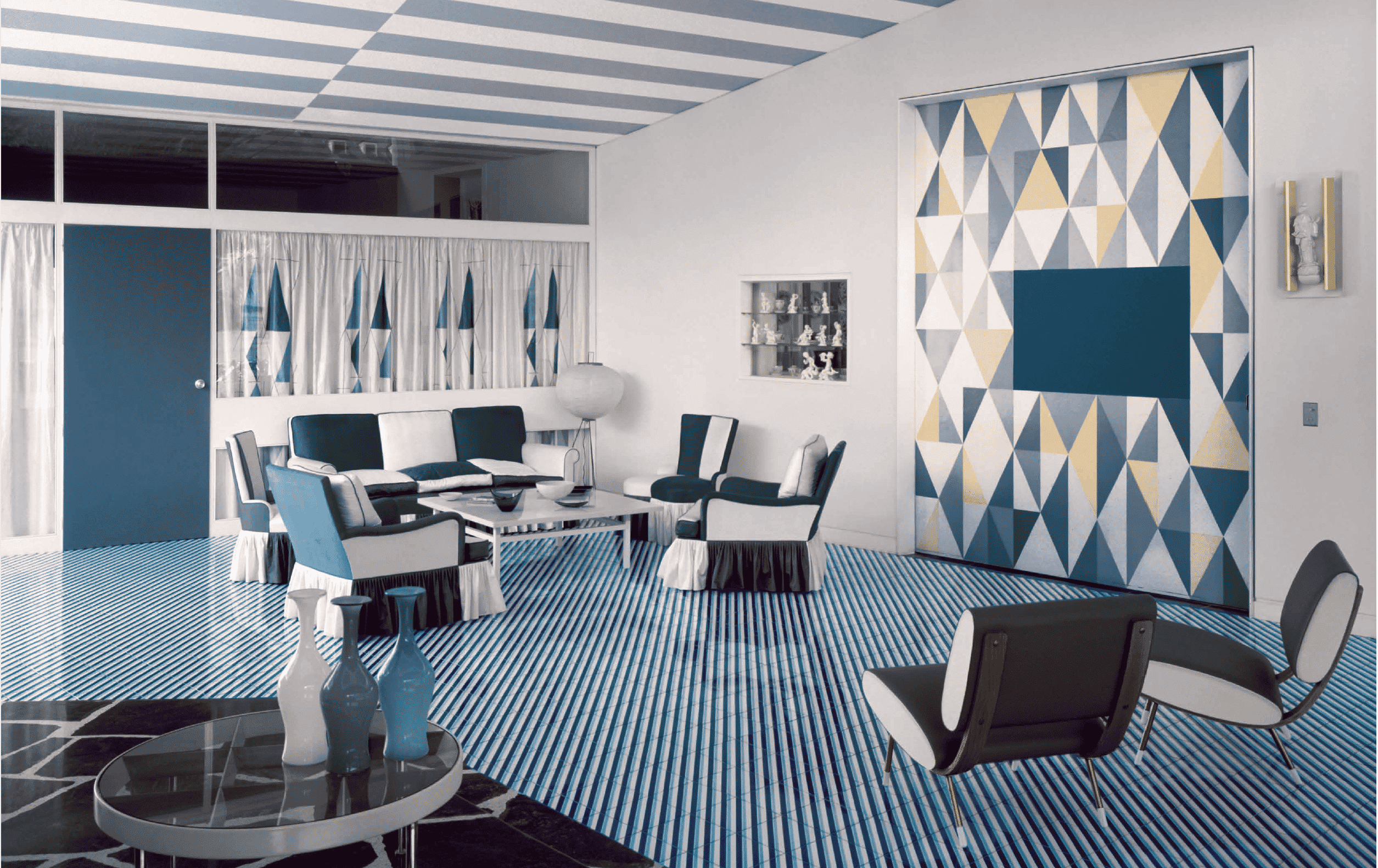 The main reception area of Villa Arreaza, as seen in the book Gio Ponti, offered by Taschen