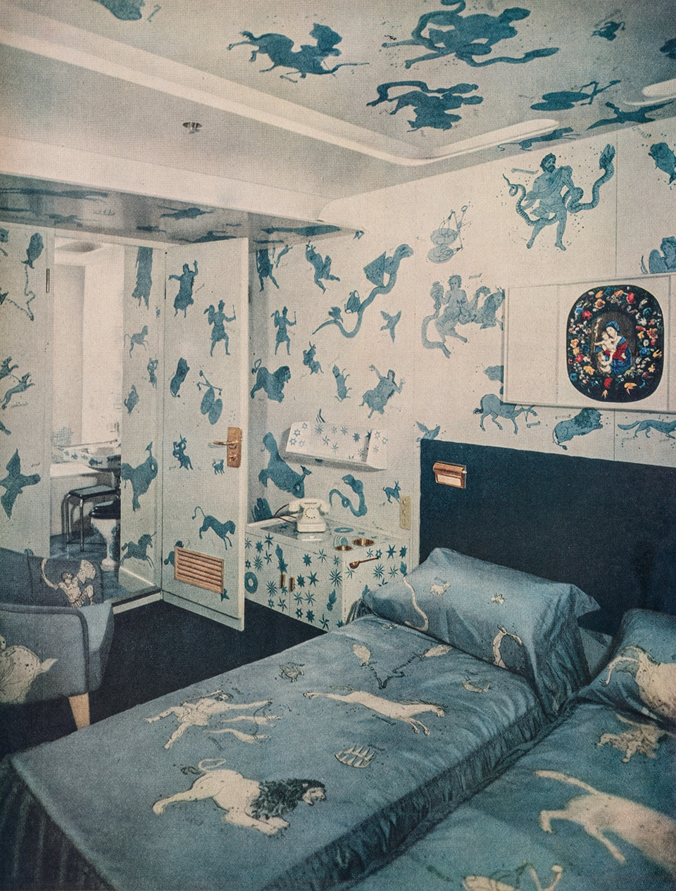 An image from a promotional brochure for the Andrea Doria showing the ship's Zodiac Suite, as seen in the book Gio Ponti, offered by Taschen