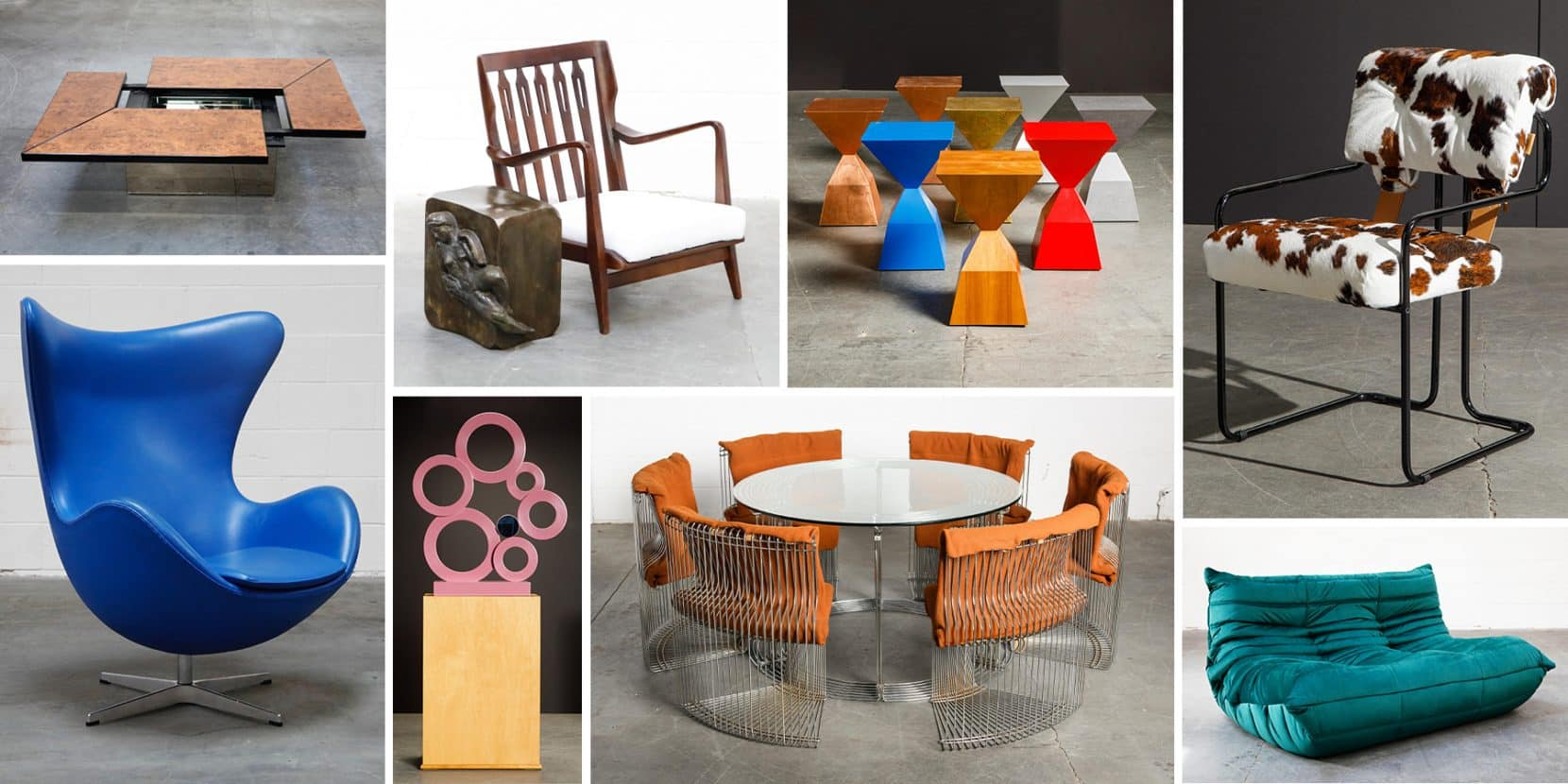 Pieces by, clockwise from top left, Paul Michel, Philip and Kelvin LaVerne, Stewart MacDougall (tables and sculpture), Guido Faleschini, Michel Ducaroy, Verner Panton and Arne Jacobson, offered by Automaton