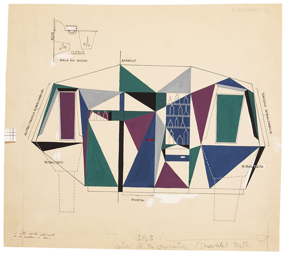 Gio Ponti's design sketch for the bar area of Villa Planchart, as seen in the book Gio Ponti, offered by Taschen