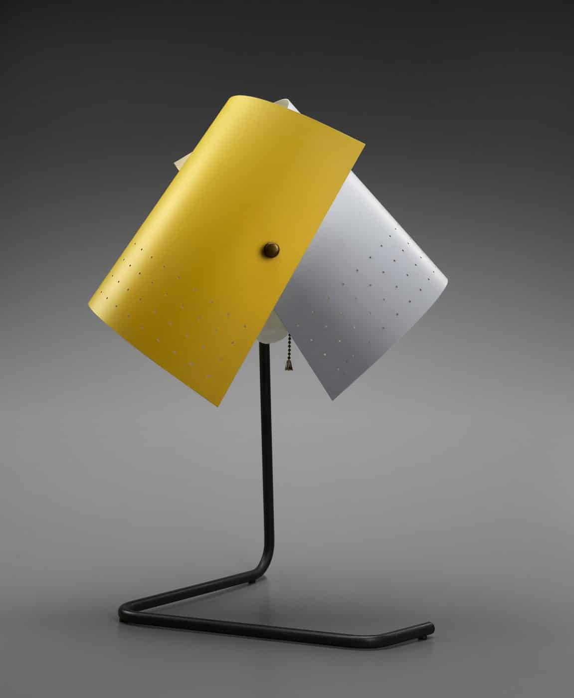"""Lester Geis's T-5-G adjustable table lamp, from """"Electrifying Design: A Century of Lighting,"""" at the Museum of Fine Arts, Houston"""