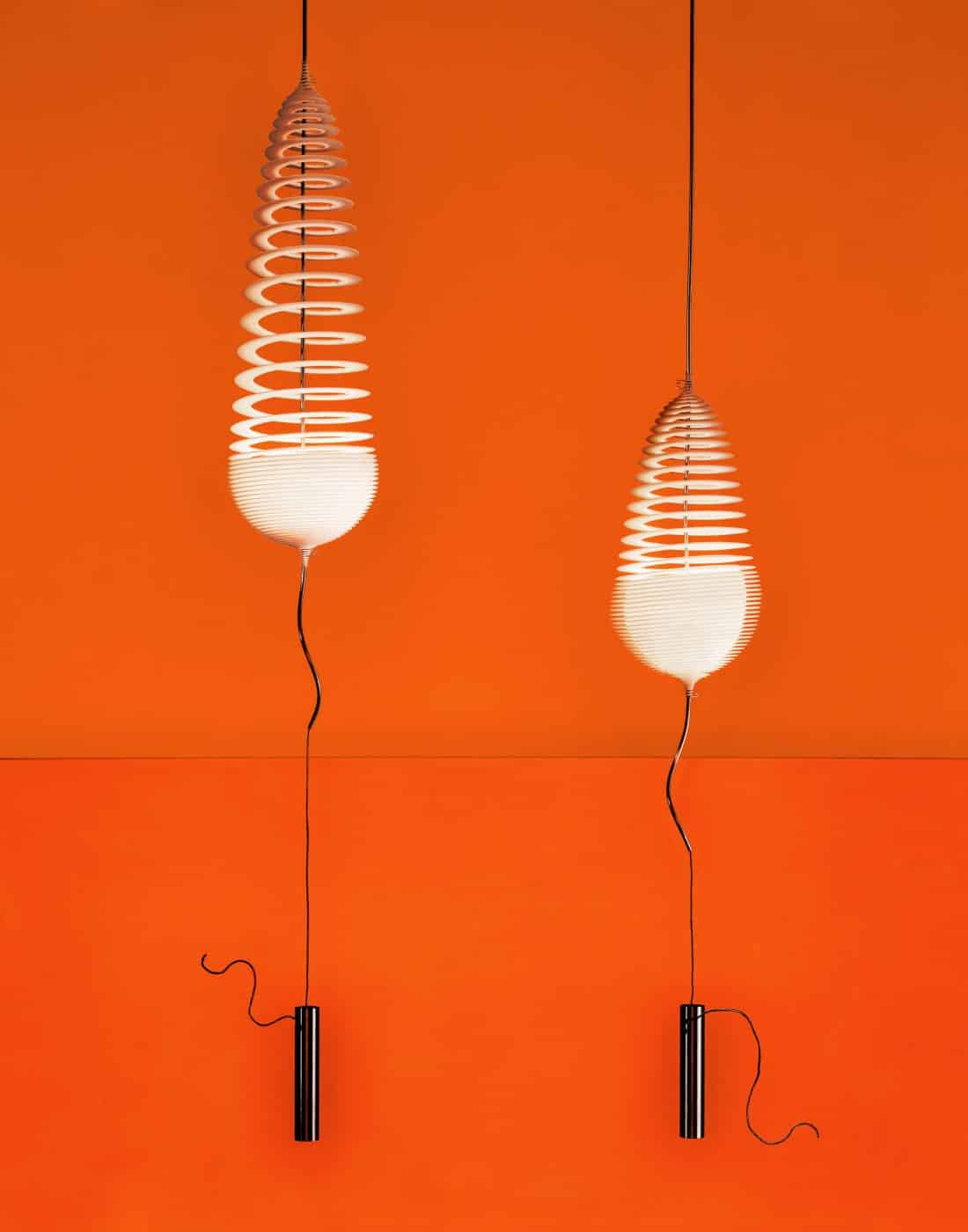 """Ron Arad's 2000 Ge-Off Sphere hanging light, from """"Electrifying Design: A Century of Lighting,"""" at the Museum of Fine Arts, Houston"""