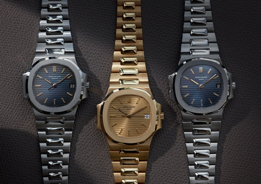 Three PATEK PHILIPPE NAUTILUS watches, originally designed by Gérald Genta