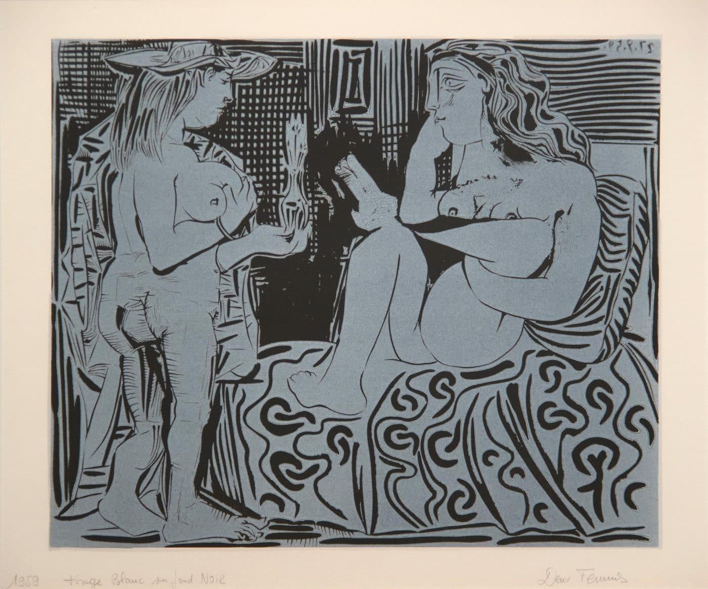 Deux femmes avec un vase à fleurs, 1959, by Pablo Picasso, offered by Heather James Fine Art