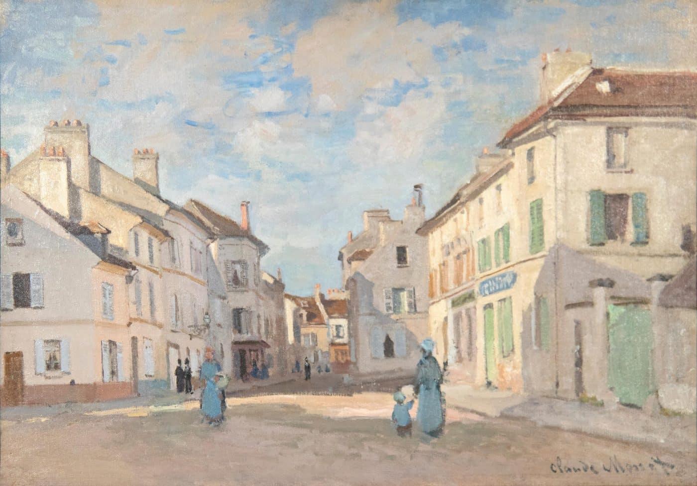 L'Ancienne rue de la Chaussée, Argenteuil, 1872, by Claude Monet, offered by Heather James Fine Art