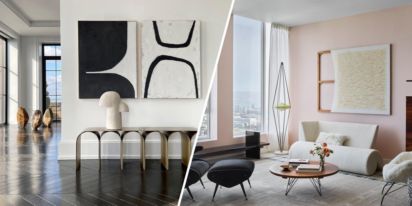 Galerie Philia's staged apartment in Walker Tower in New York, at left, and Gabriel & Guillaume's space at Fifteen Fifty, a residential skyscraper in San Francisco, at right