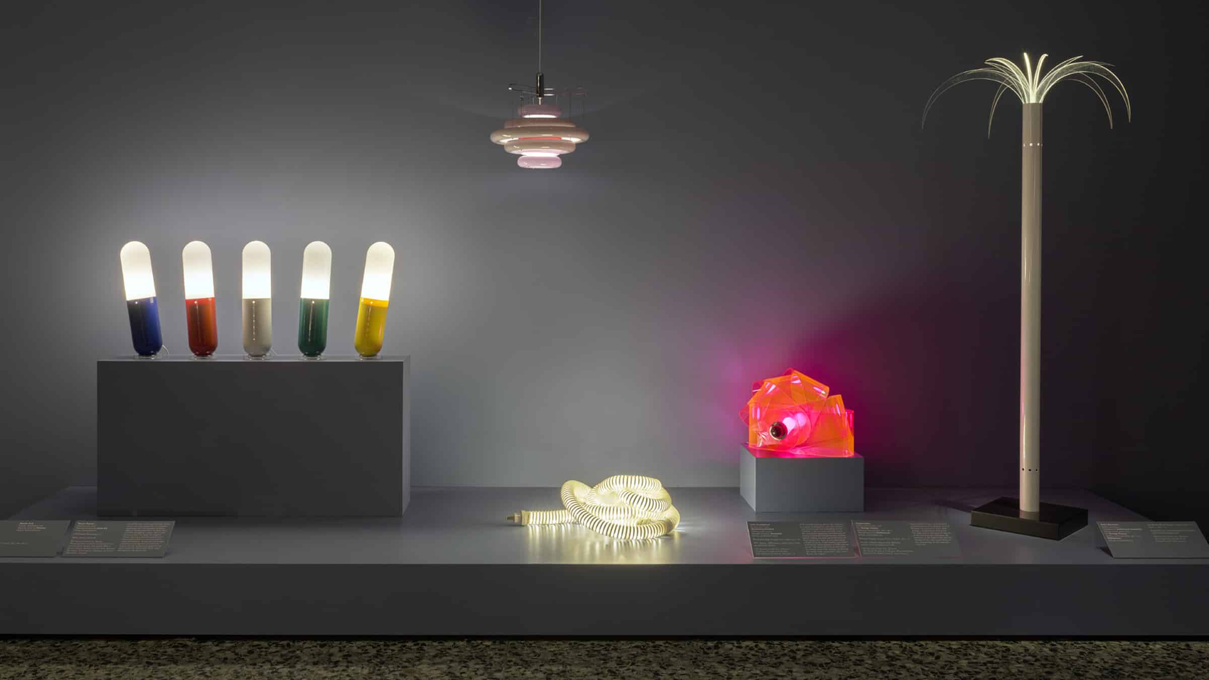 """An installation view of """"Electrifying Design: A Century of Lighting,"""" at the Museum of Fine Arts, Houston"""