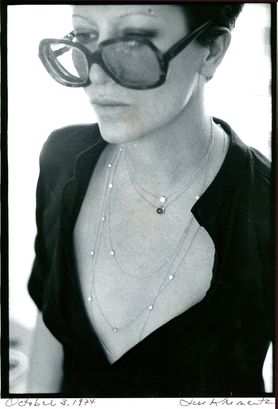 Elsa Peretti wears strands of her Diamonds by the Yard necklaces