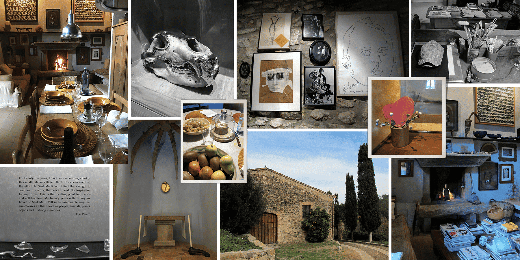Collage of photos from Elsa Peretti's home n Spain