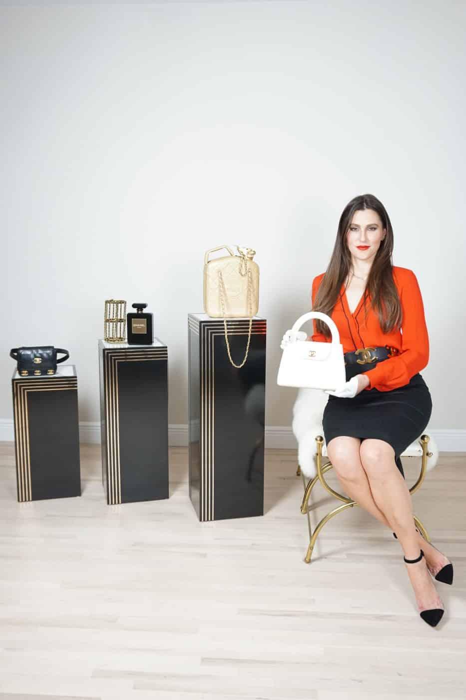 Mila Evertz, founder of HOUSE OF CARVER, with rare Chanel handbags