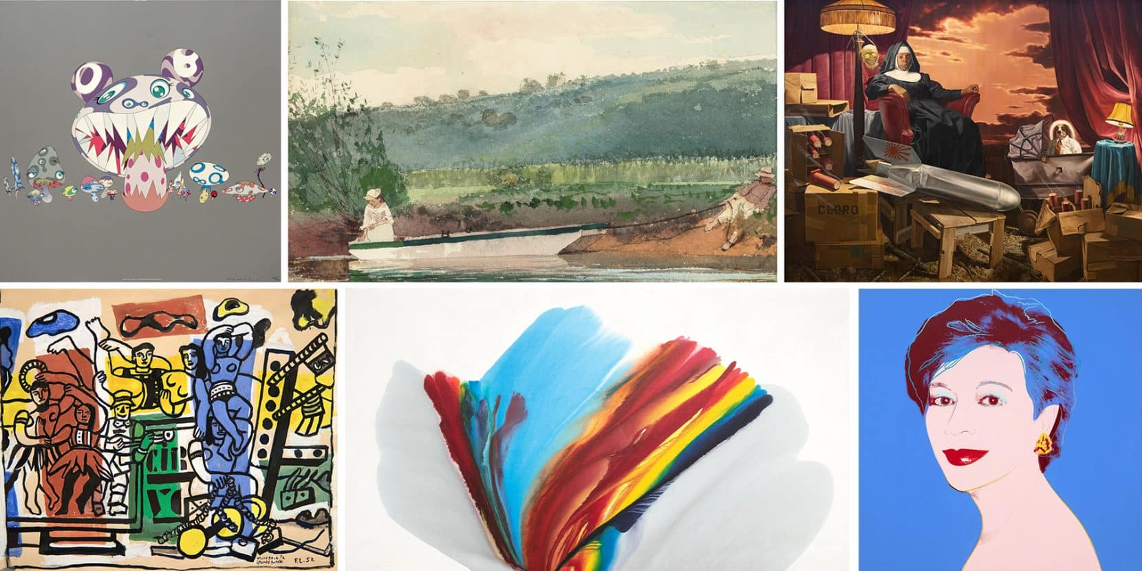A selection or works offered by Heather James Fine Art and created by, clockwise from top left, Takashi Murakami, Winslow Homer, Donald Roller Wilson, Andy Warhol, Paul Jenkins and Fernand Léger