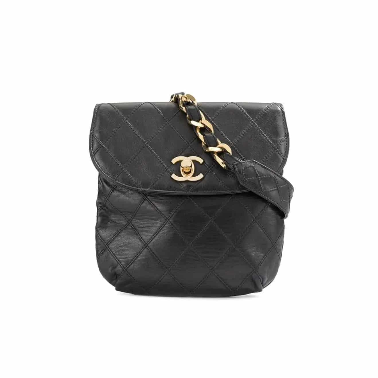 A vintage black quilted-leather Chanel belt bag, offered by House of Carver
