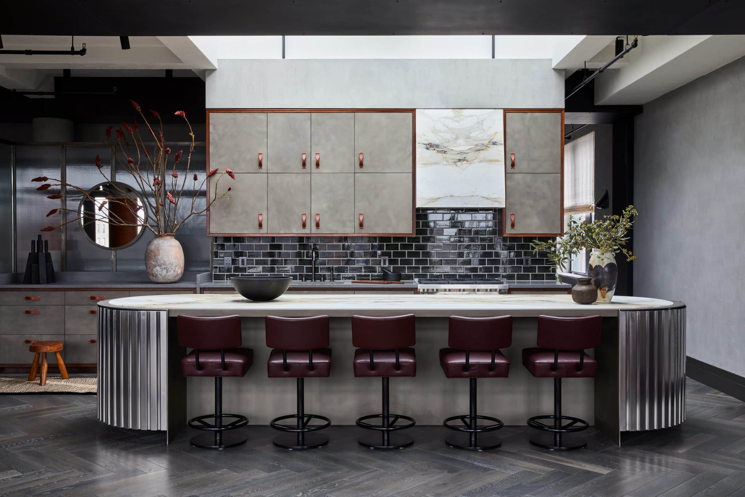A Deco-inspired custom kitchen island designed by Jesse Parris-Lamb