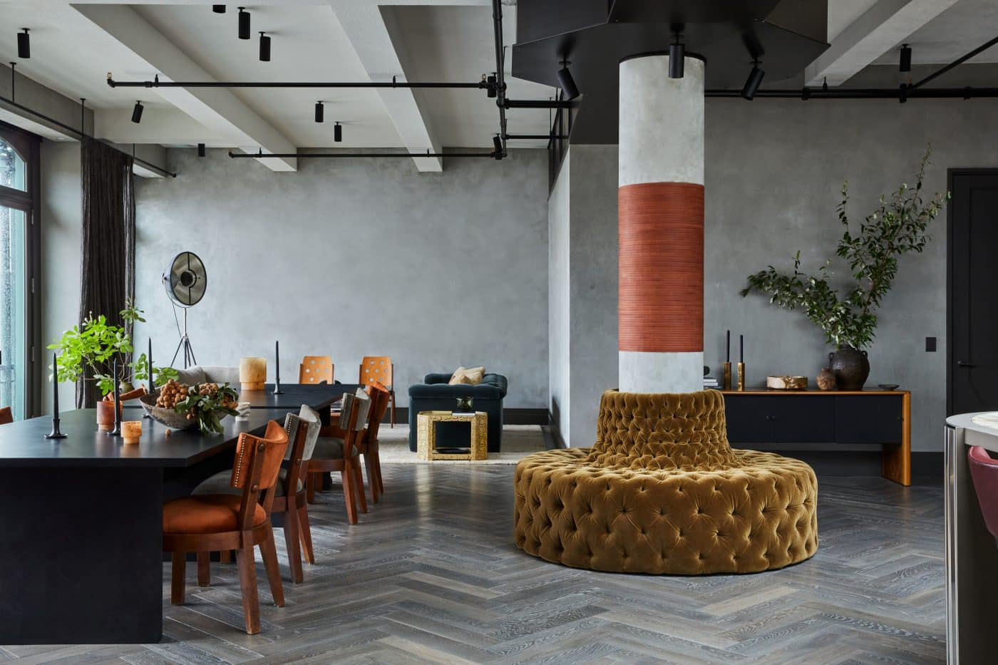 The dining and living areas of a New York loft designed by Jesse Parris-Lamb