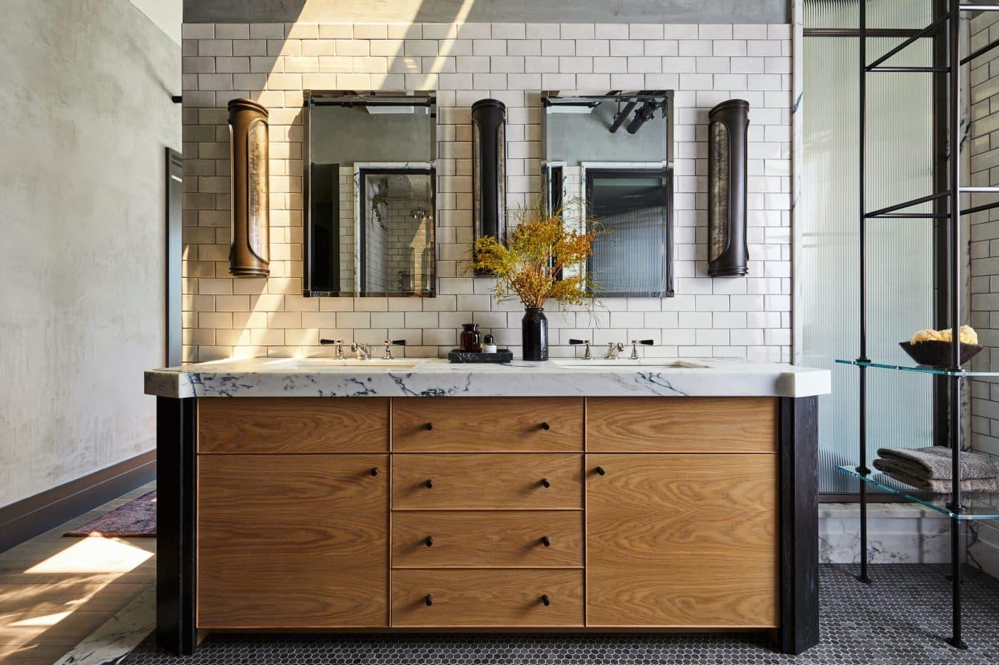 A custom bathroom vanity designed by Jesse Parris-Lamb