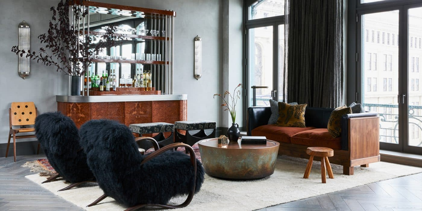 The bar area of a downtown New York penthouse designed by Whitney Parris-Lamb (left) and Amanda Jesse of Brooklyn-based firm JESSE PARRIS-LAMB