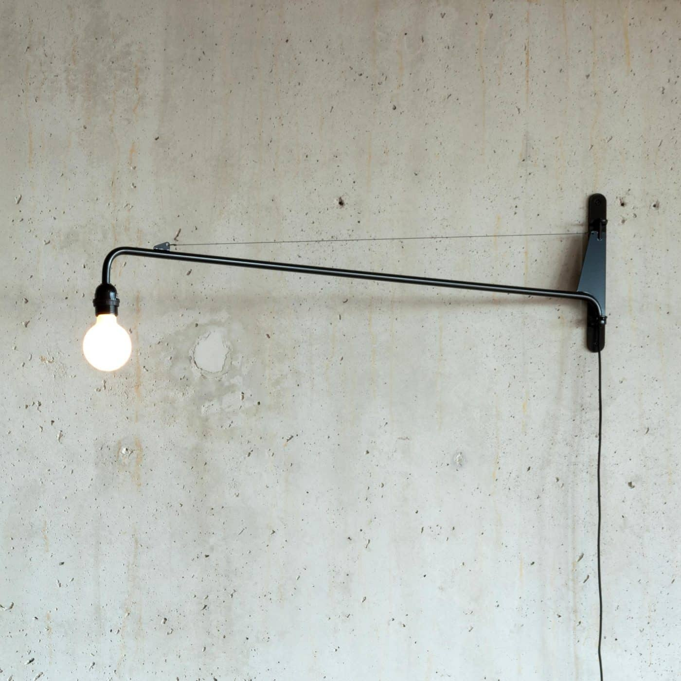 The Potence d'éclairage, or Swing Jib lamp, designed by Jean Prouvé