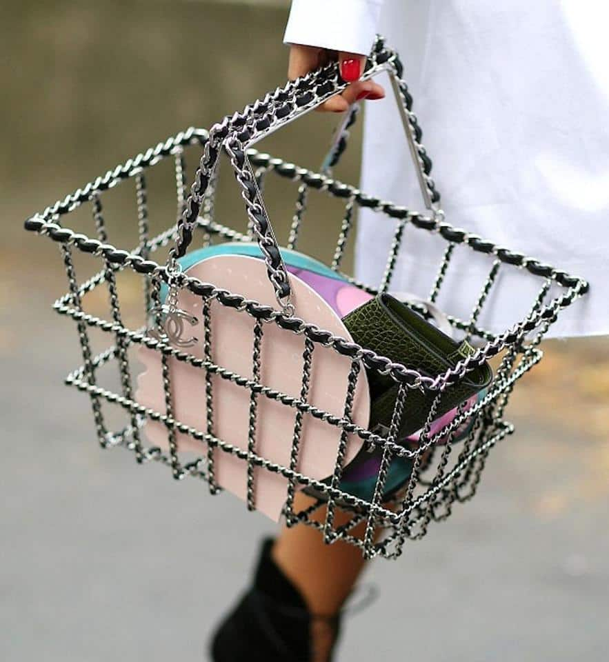 A Chanel bag shaped like a grocery basket, offered by House of Carver