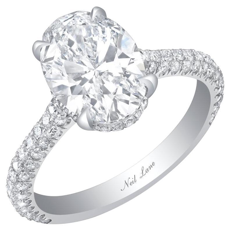 Neil Lane oval-diamond and platinum ring