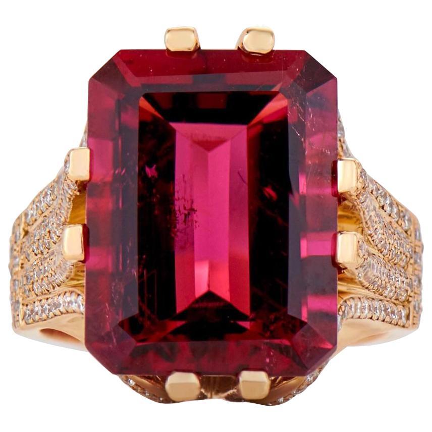 Neil Lane rubellite, yellow-gold and diamond COCKTAIL RING