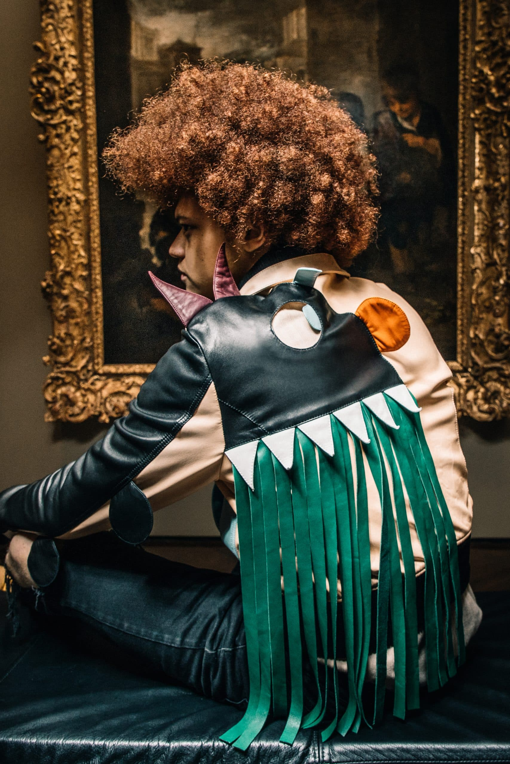 A model in a MONSTER JACKET BY WALTER VAN BEIRENDONCK, offered by Evolution