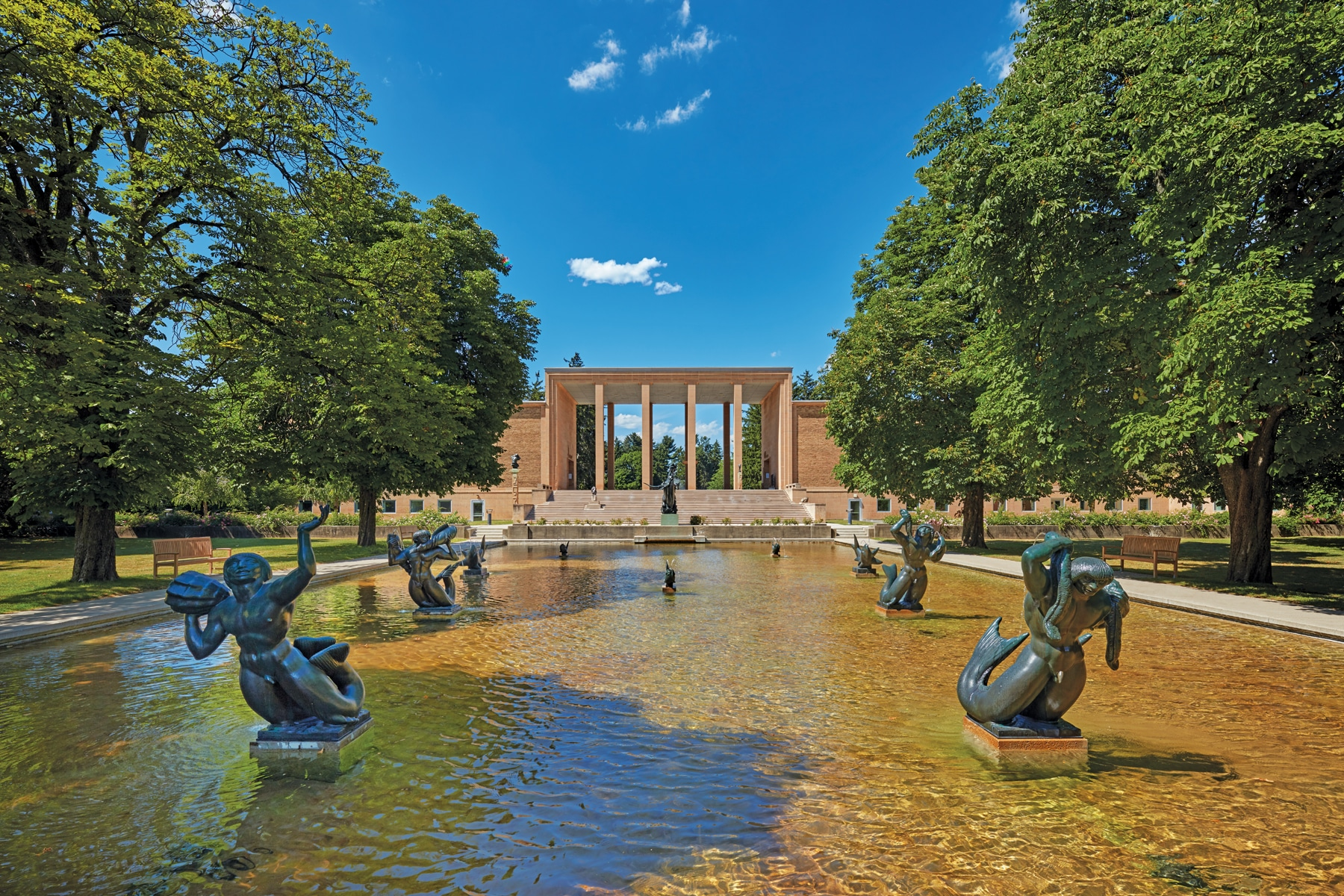 Triton Pools, a reflection pool at Cranbrook campus featuring bronze nautical themed sculptures by Carl Milles