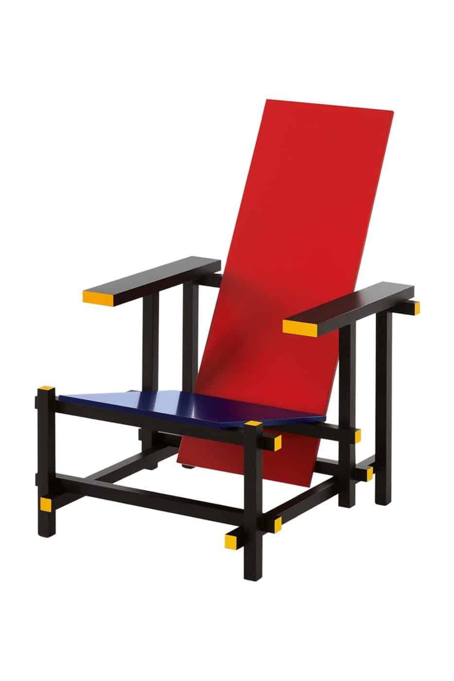 A Cassina reissue of the Rietveld RED AND BLUE CHAIR, offered by DADA Studios