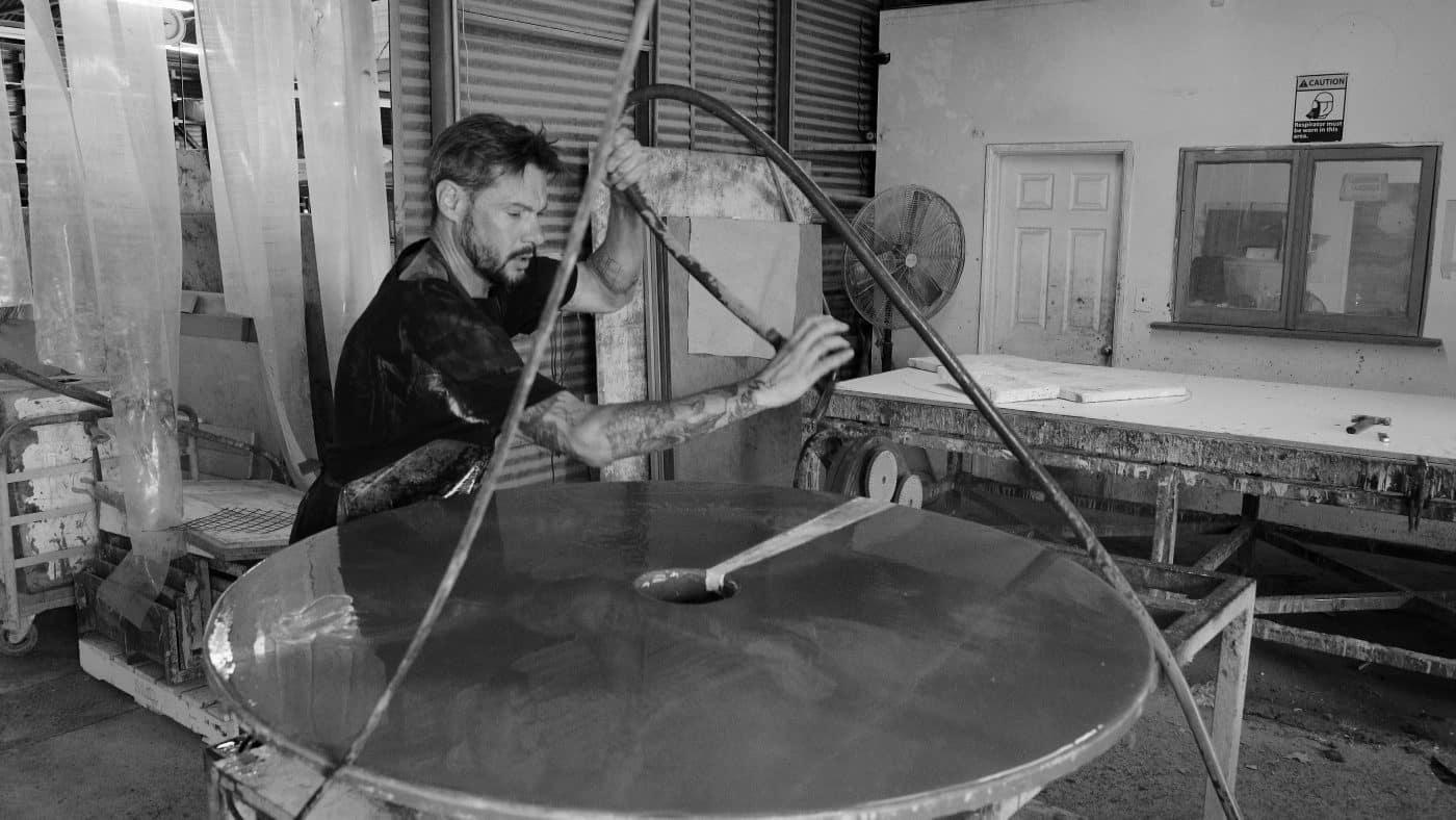 Du Wulf makes a Split Locking tabletop in his L.A. workshop.