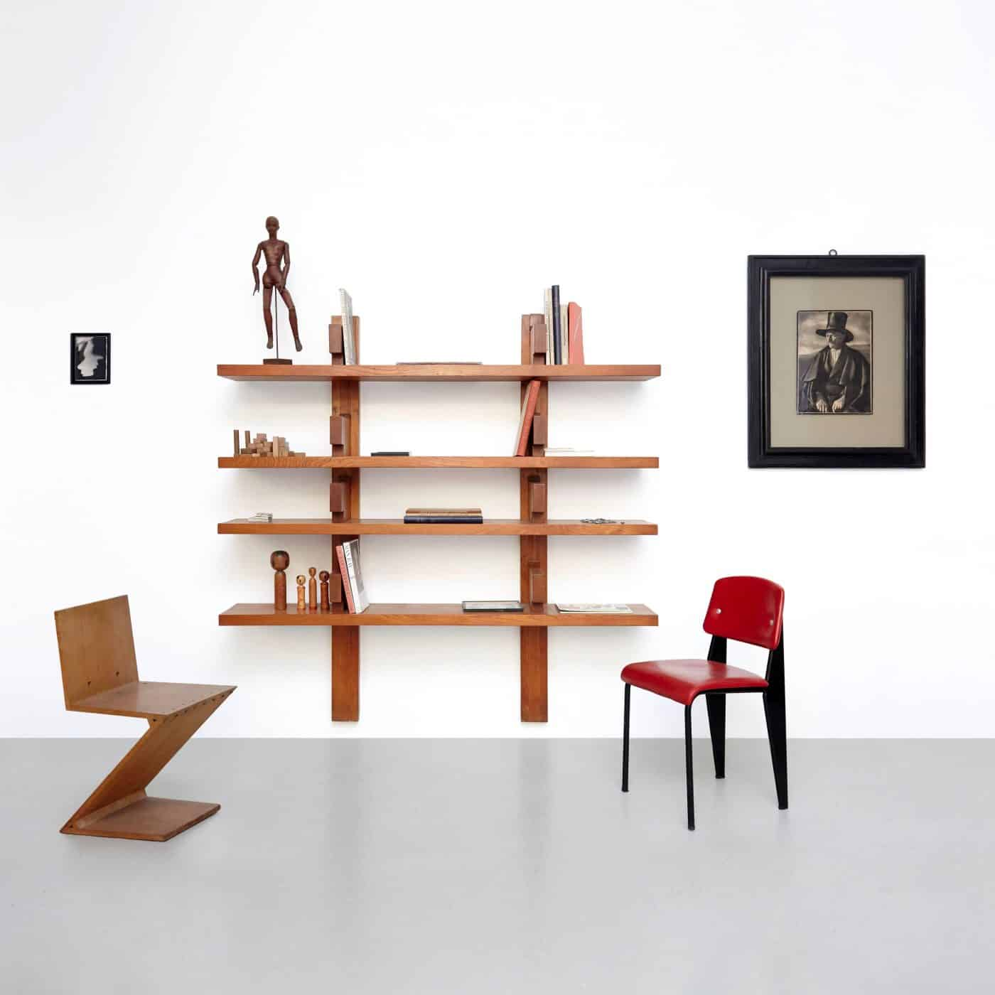 A vignette featuring PIERRE CHAPO BOOK SHELVES offered by DADA Studios