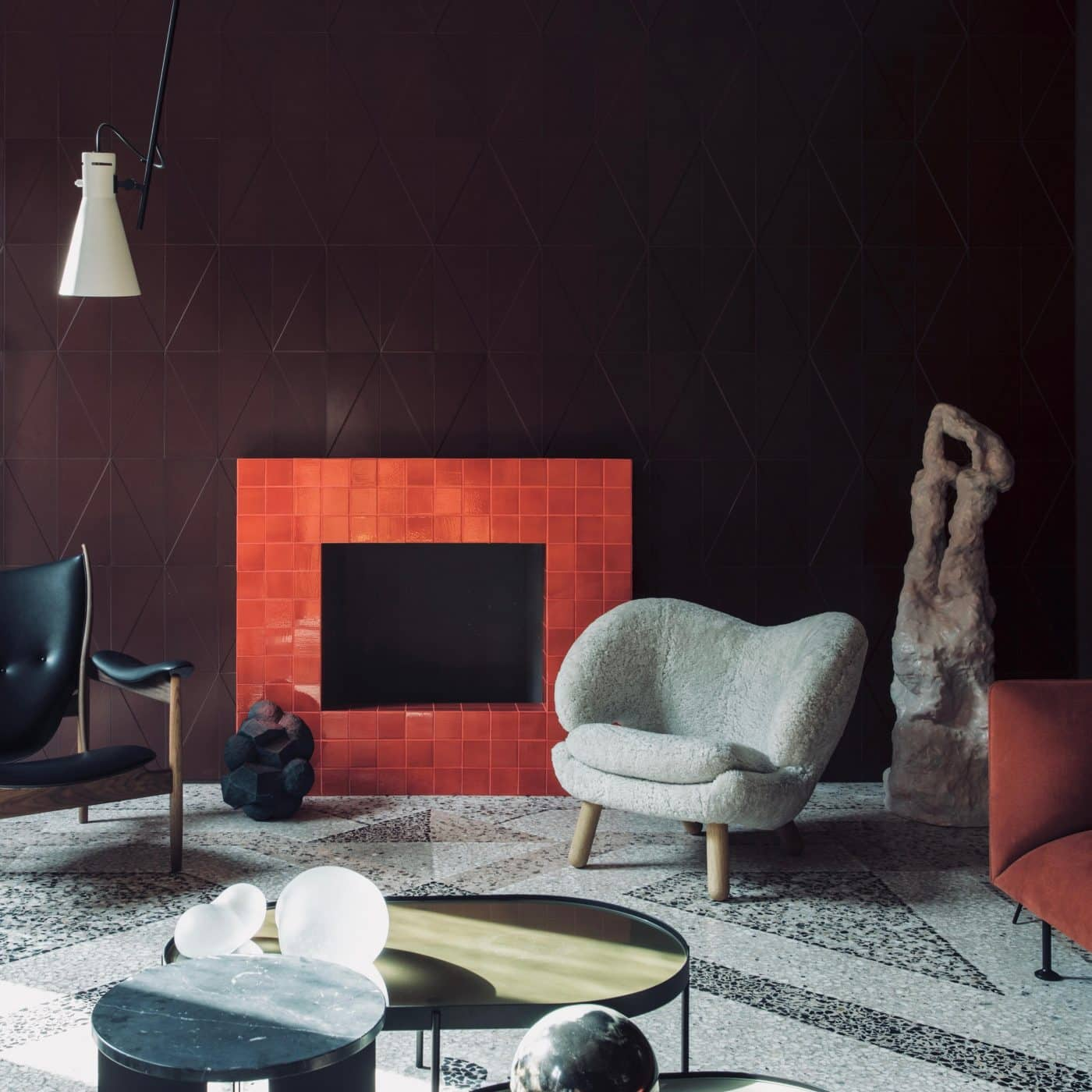 A living room featuring a Finn Juhl Pelican chair, offered by DADA Studios