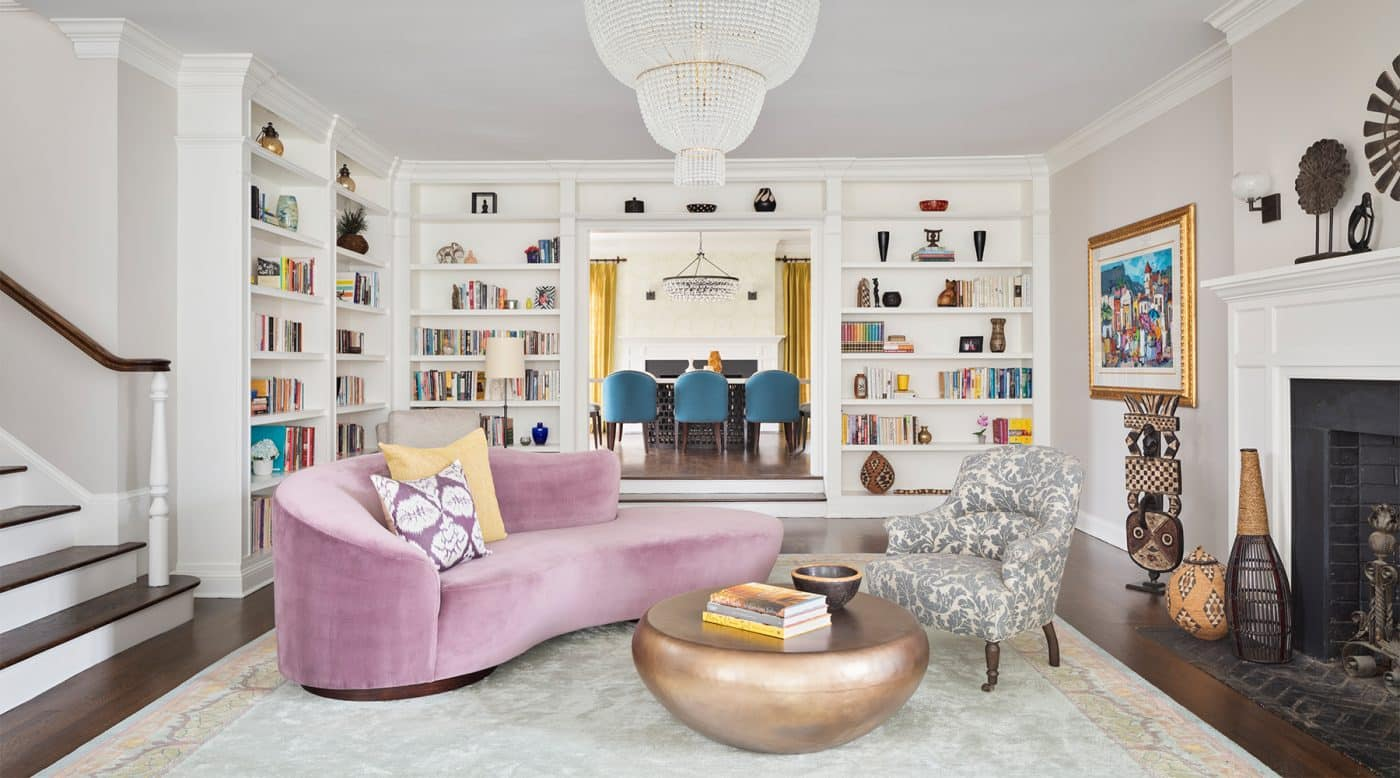 The living room of a Greenwich, Connecticut, house with interiors by Danielle Fennoy of Revamp Interior Design