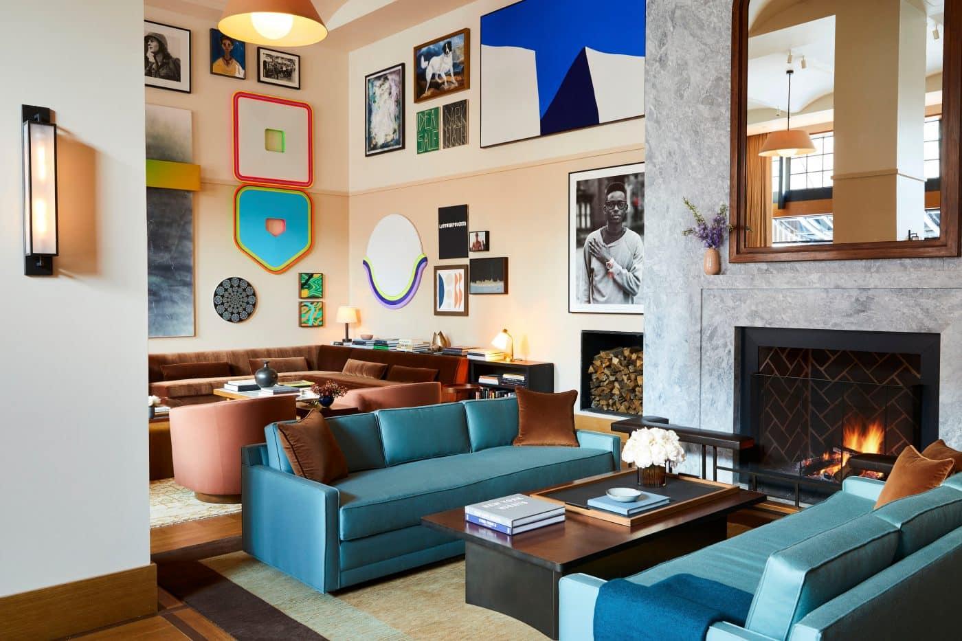 Shinola Hotel lobby in Detroit, designed by Gachot Studios