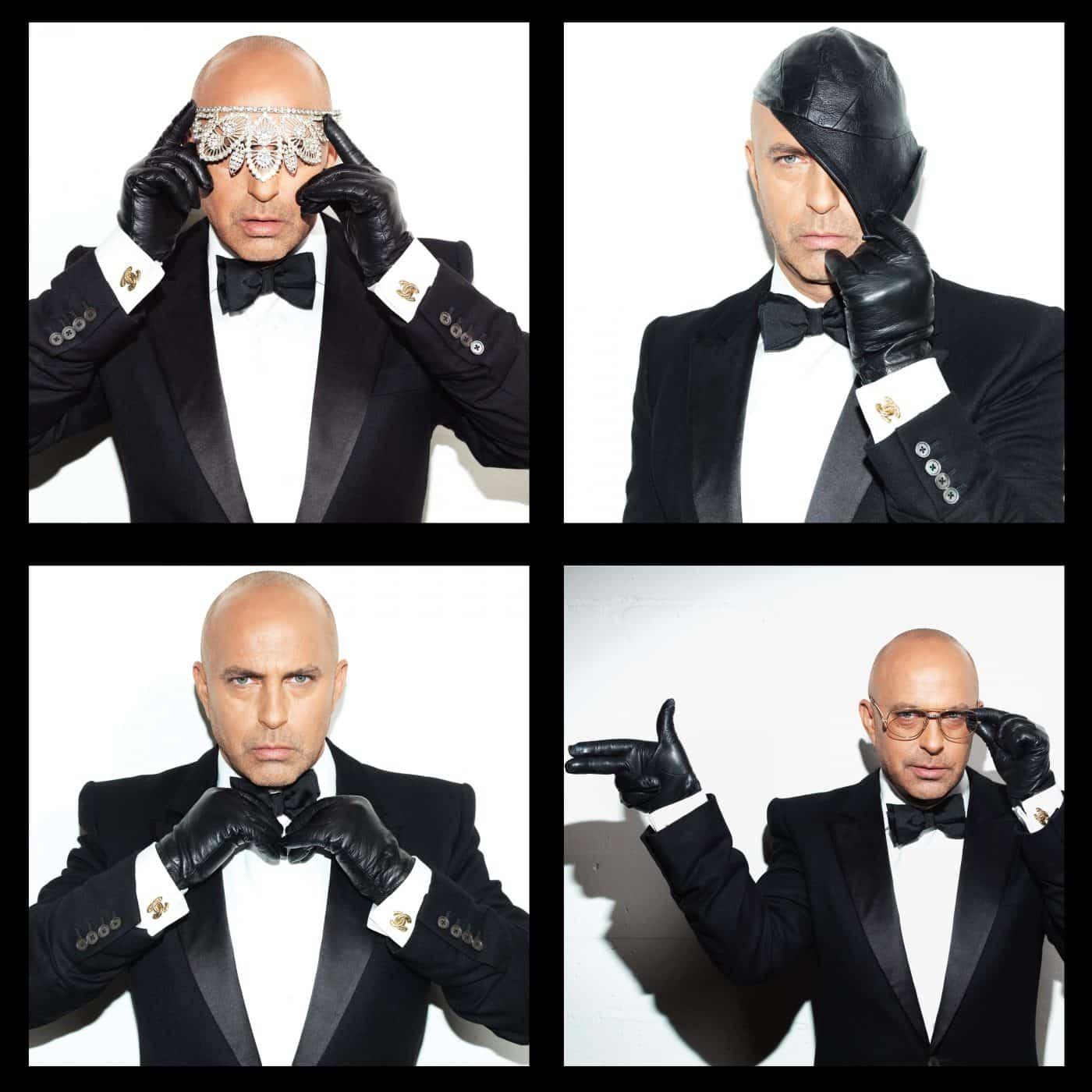 Tony Tiemeyer, owner of vintage-fashion studio Evolution, dressed in an ALEXANDER MCQUEEN tux and designer accessories