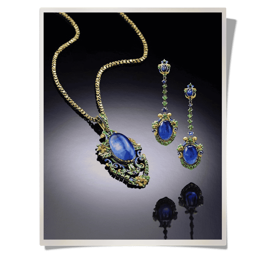 Louis Comfort Tiffany–designed cabochon-sapphire and enamel earrings and a matching necklace, now in Neil Lane's personal jewelry collection