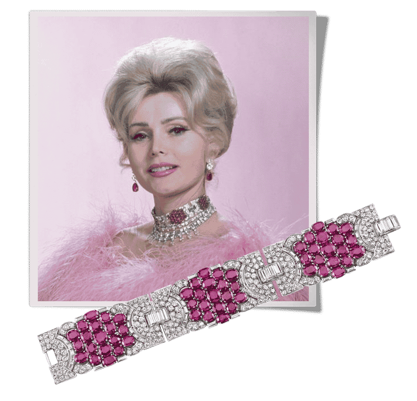 Zsa Zsa Gabor wears a ruby and diamond bracelet now owned by Neil Lane around her neck as a choker
