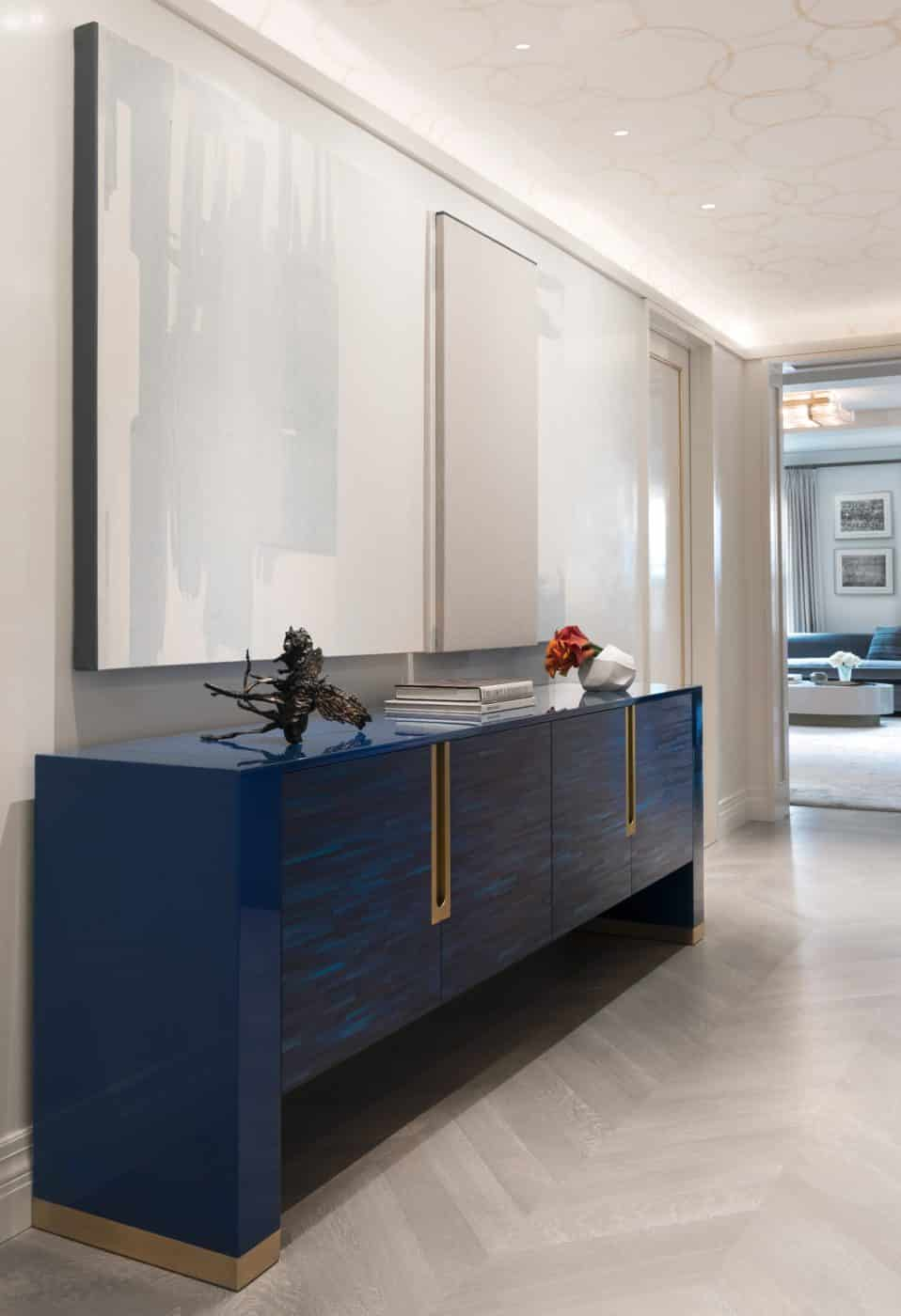 Foyer with blue Japanese lacquer table