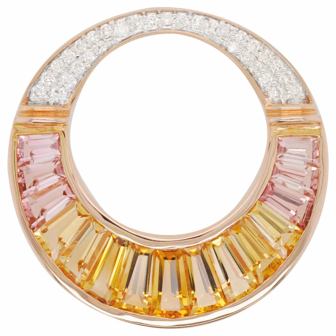 18 Karat Rose Gold Citrine Peach Tourmaline Baguette Diamond Pendant Necklace