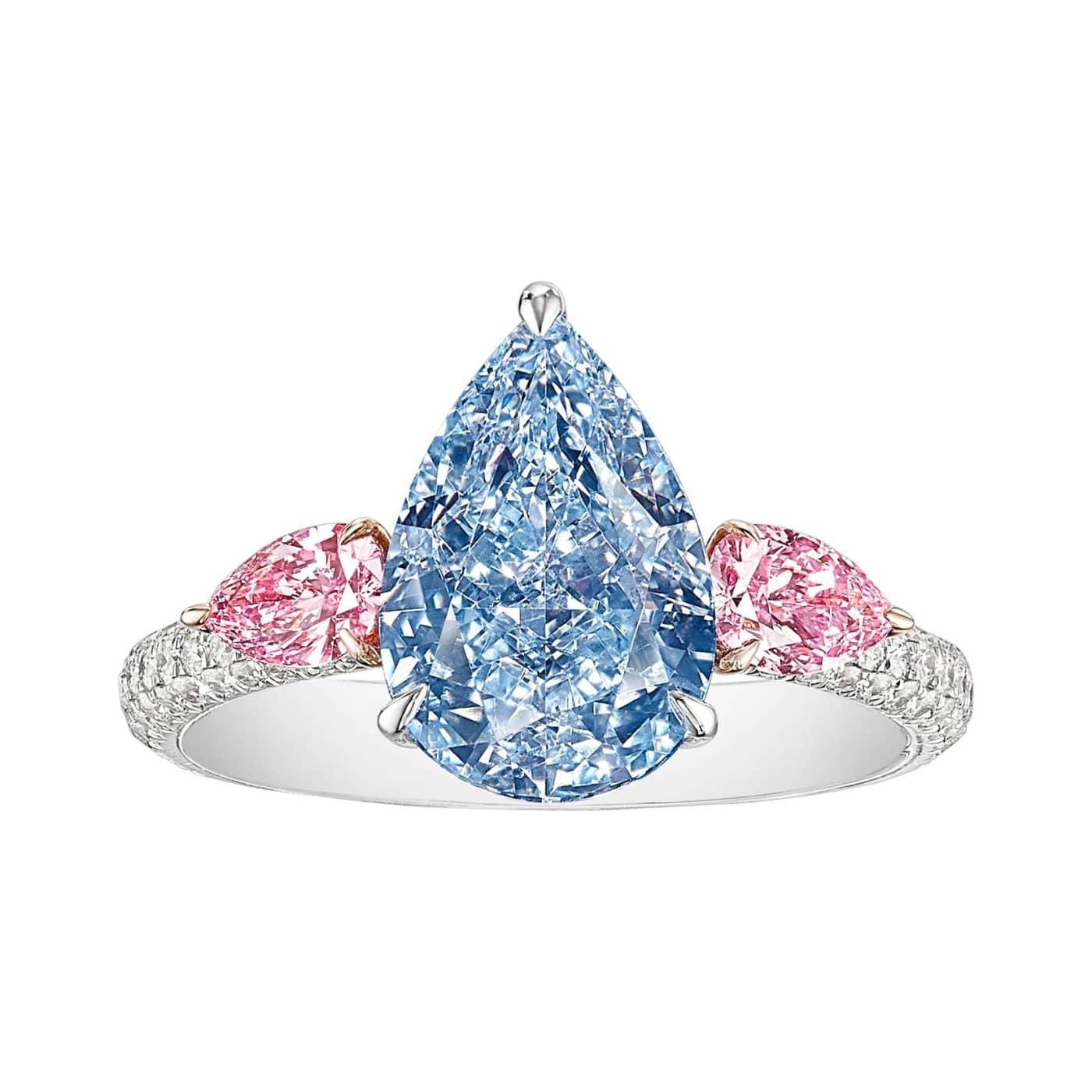 GIA Certified 3.97 Carat Fancy Intense Blue and Pink Diamond Ring in 18K Gold