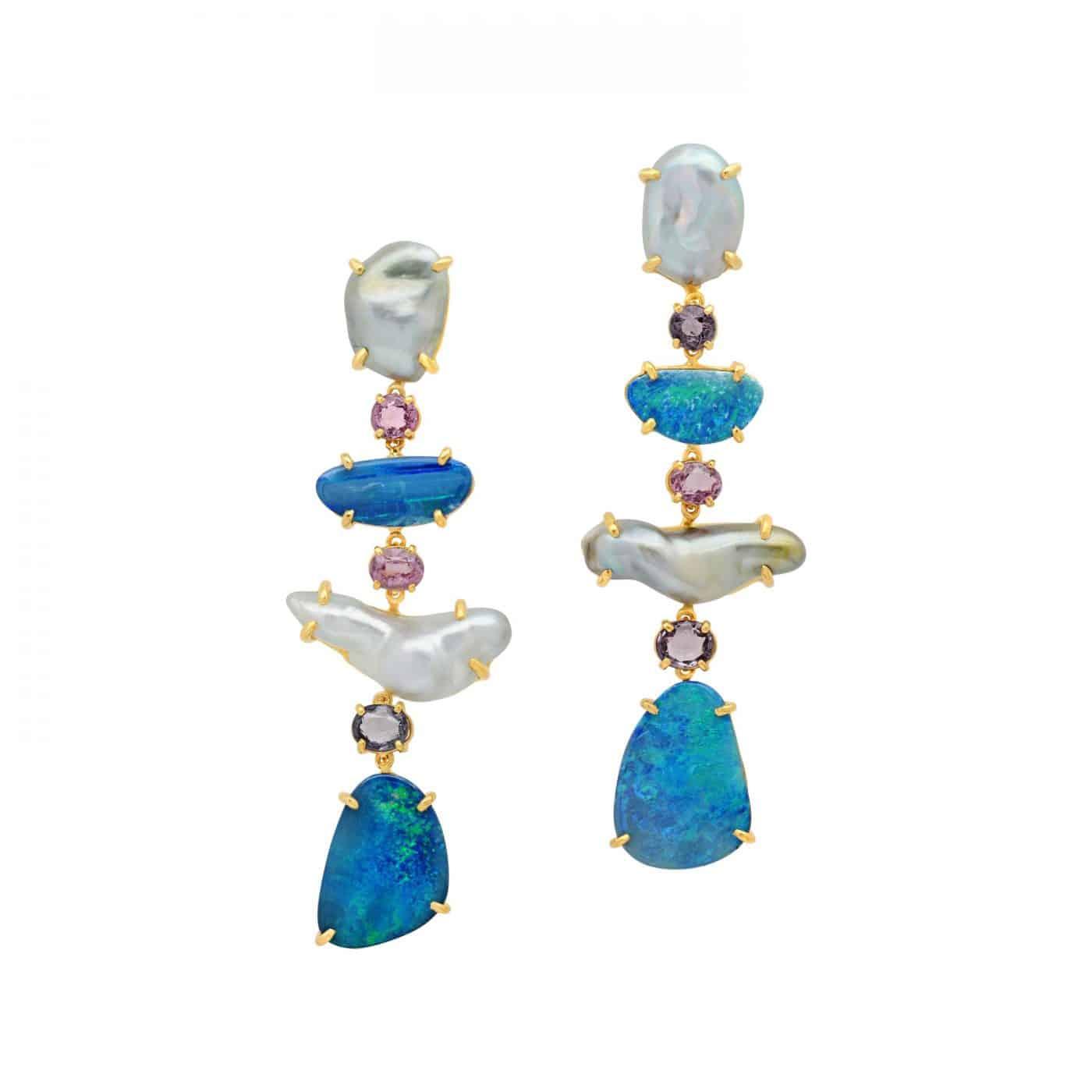 18 Karat Yellow Gold Keshi Pearl Boulder Opal Spinel Drop Dangle Earrings