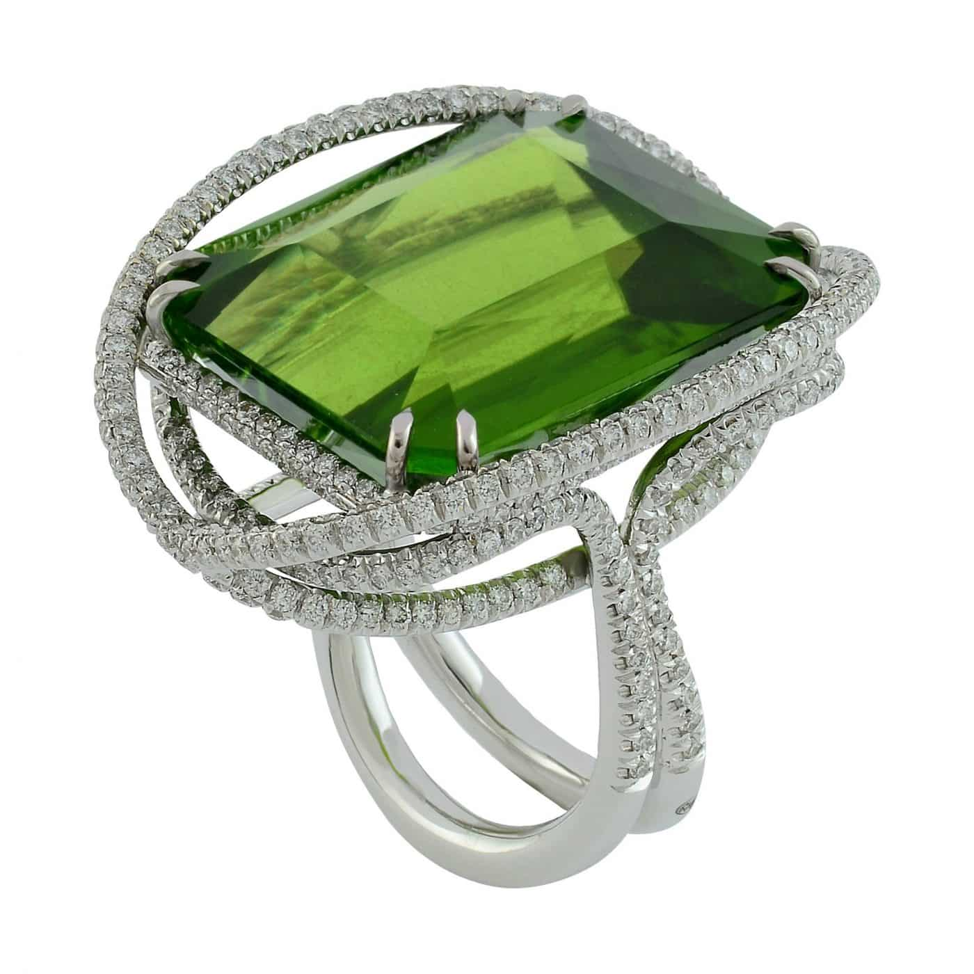 Peridot and diamonds white gold Margherita Burgener ring