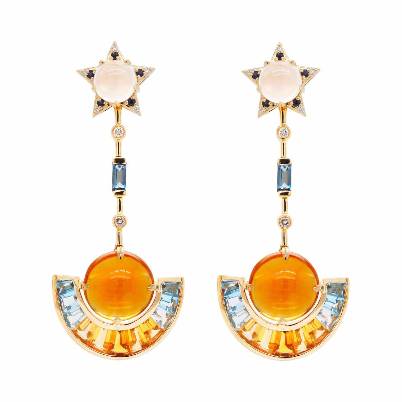 Detachable 18 Karat Gold Citrine Topaz Moonstone Blue Sapphire Diamond Earrings